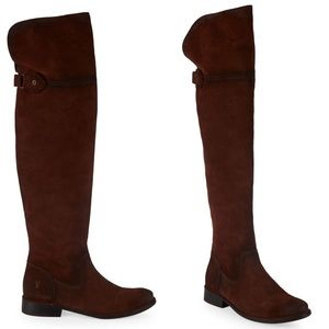 FRYE Shirley Over The Knee Brown Suede Boots